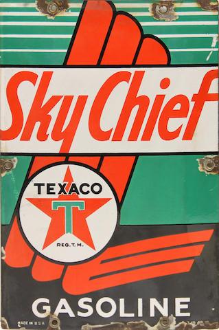 A rare Texaco Sky Chief Gasoline pump plate,