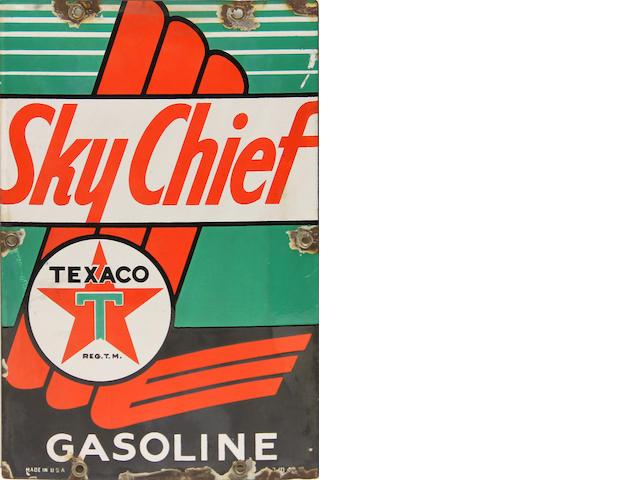 A rare Texaco Sky Chief Gasoline pump plate,