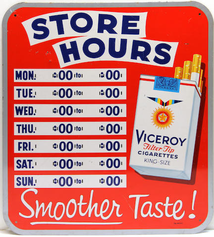A Vicroy cigarettes store hour sign, 1944,