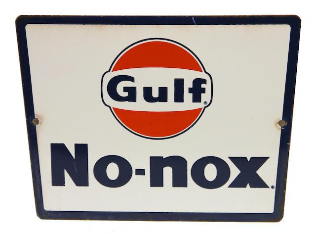 "A Gulf ""No Nox"" pump plate,"