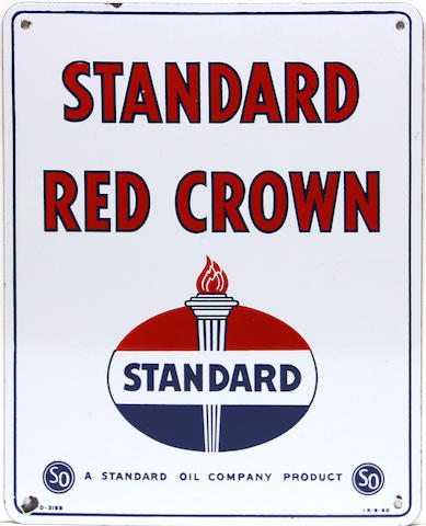 A Standard Red Crown pump plate, 1950,