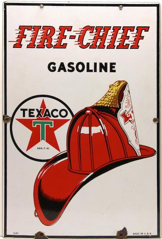 A fine Texaco Fire chief pump plate, 1940,