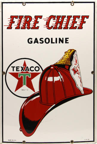 A fine Texaco Fire chief pump plate, 1959,