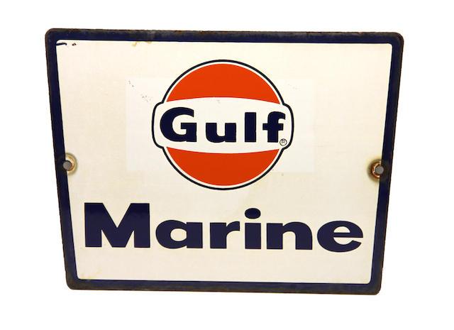 A rare Gulf Marine pump plate, circa 1960s,