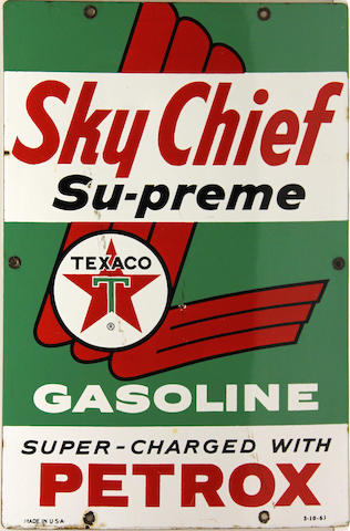 A Texaco Sky Chief Supreme pump plate, 1961,
