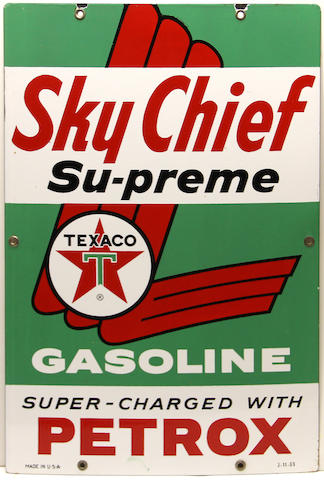 A Texaco Sky Chief Supreme pump plate, 1963,