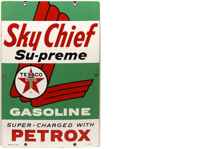 A Texaco Sky Chief Supreme pump plates, 1963,