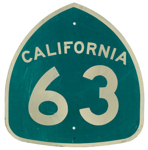 A California Route 63 sign,