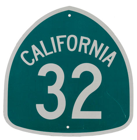 A California Route 32 sign,