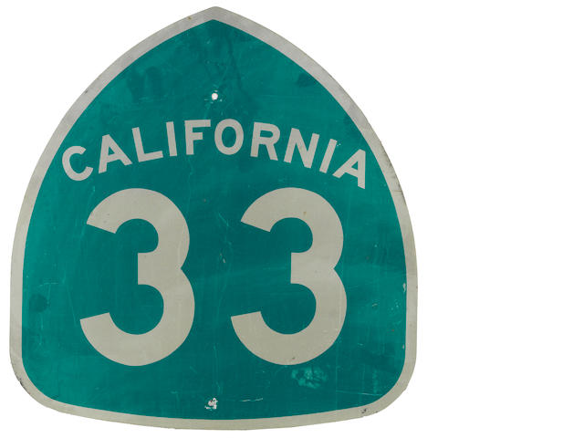 A California Route 33 sign,