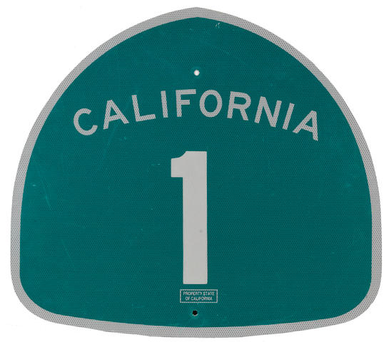 A California Route 1 sign,