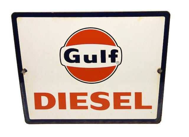 A rare Gulf Diesel pump plate, circa 1950s,