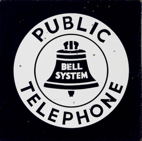 A Bell-System Public Telephone flange sign, 1950s,