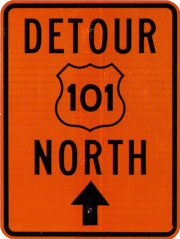A Detour 101 North sign,