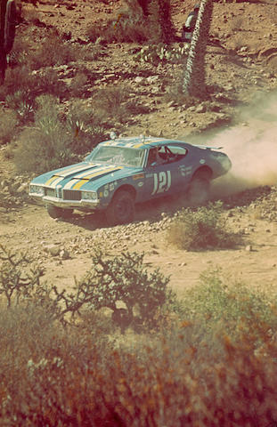 "Ex-James Garner, Vic Hickey-built, 1969 NORRA Mexican 1000 2nd in class,1969 ""Goodyear Grabber"" Oldsmobile 442 Baja Racer"