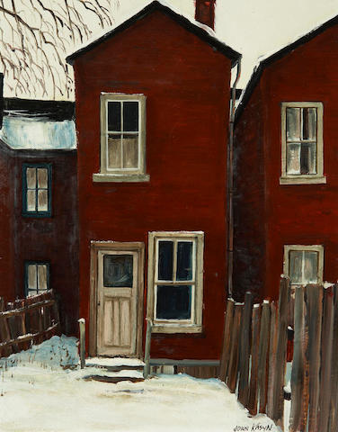 John Kasyn (Canadian, 1926-2008) Two views: End of Bright Alley and Old House on Grange Ave. and 19.7 x 5.2cm (7 3/4 x 6in).