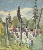 Thomas Wesley McLean (Canadian, 1881-1951) Seven views:Georgian Bay, Rocky Point; Waterfall; Rapids; Winter Scene; Landing a Canoe; Mountain Range; and Forest Interior  and smaller.