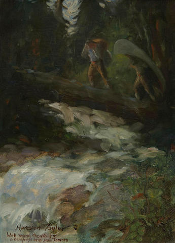 Horace Weston Taylor (American, 1881-1934) Portaging over the river (figure study on the reverse)