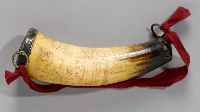 An incised British military powder horn commemorating the Battle of the Plains of Abraham