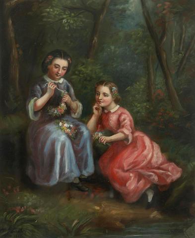 Charlotte Mount Brock Schreiber (British/Canadian, 1834-1922) Young Girls Making Flower Crowns