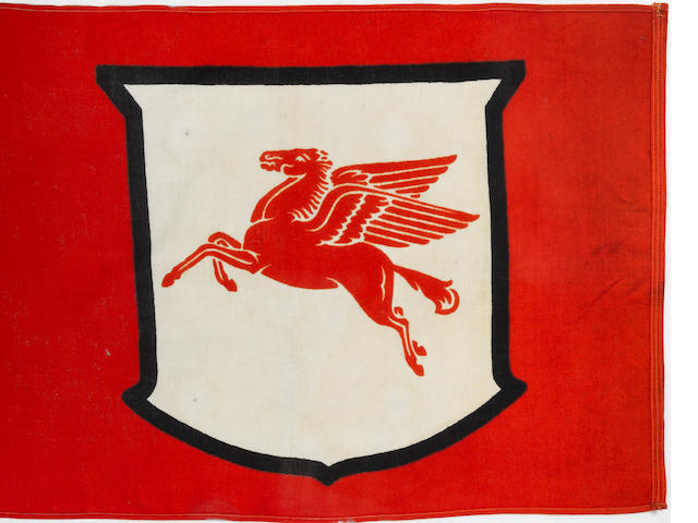 A Mobile Pegasis red shield flag,