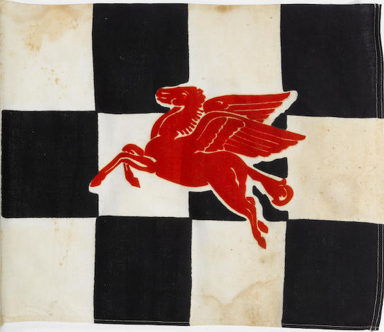 A Mobile Pegasis checkard flag,