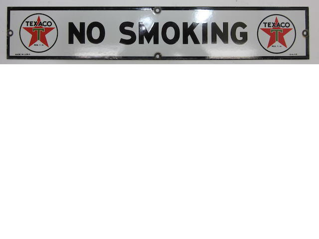 "A fine Texaco ""No Smoking"" pump sign, 1953,"