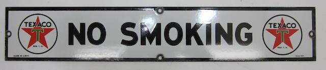 "A fine Texaco ""No Smoking"" pump sign, 1953,"