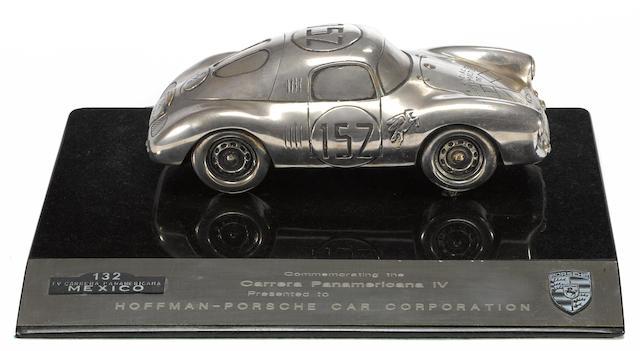A Carrera Panamericana IV Porsche 550 Coupe sculpture,