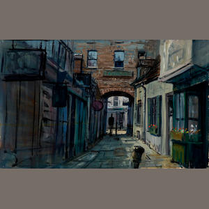 Ellenshaw, Peter.  Acrylic on board, view of the alley outside Uncle Albert's house, unsigned.
