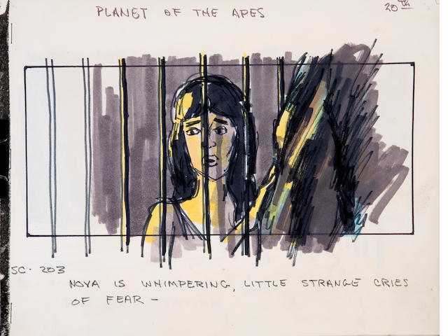 Collection of production sketches from Planet of the Apes