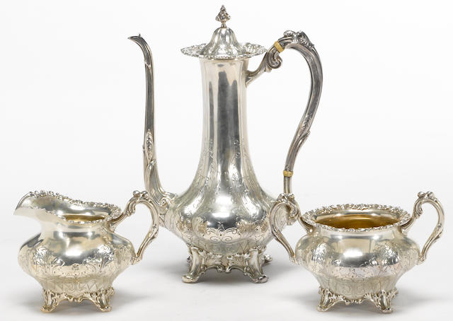 A sterling three piece coffee set Frank W. Smith Silver Co., Inc., Gardner, MA <br># 2883, monogrammed: JWC