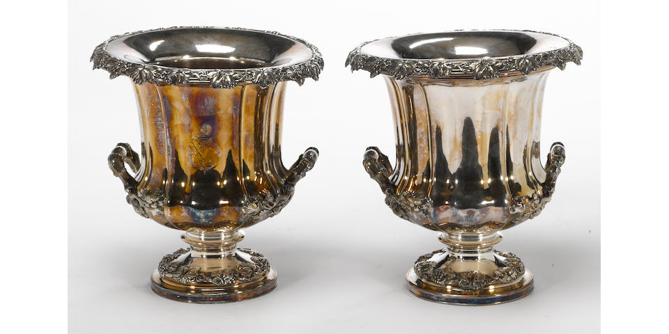 A Sheffield plate pair of wine coolers T & J Creswick, Sheffield, circa 1820's <br>With armorial