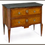 A Louis XV/XVI transitional inlaid elm commode <br>fourth quarter 18th century