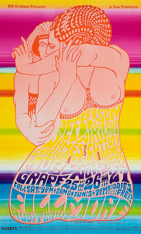 Jefferson Airplane/James Cotton Chicago Blues Band/Moby Grape, Fillmore Concert Poster, Wes Wilson, BG-39-OP-1 (Bill Graham, 1966)