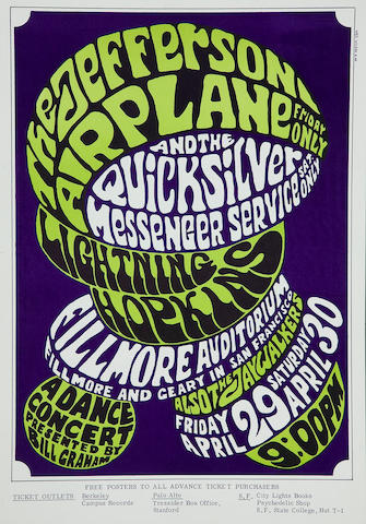 Jefferson Airplane/Quicksilver Messenger Service/Lightning Hopkins, Fillmore Concert Poster, Wes Wilson, BG-4-OP-1 (Bill Graham, 1966)