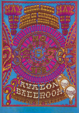 Junior Wells/Sons of Champlins/Santana Blues Band, Fillmore Concert Poster, William Henry, FD-119-OP-1 (Bill Graham, 1968)