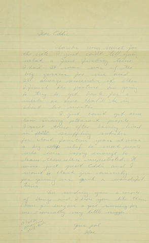 Marlon Brando letters to Eddie Sherman, 1956-1957 Two letters written by Brando, one handwritten the other typed to Eddie Sherman, a man he met on his first trip to Oahu, Hawaii.  They are both rife with misspellings and blue language: