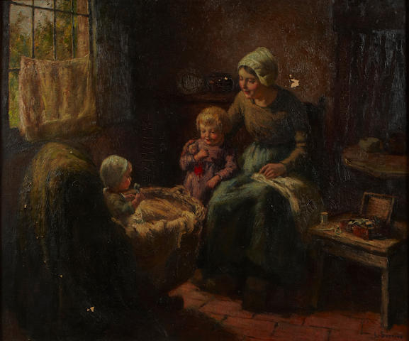 Louis Soonius (Dutch, 1883-1956) A mother and children in an interior 20 1/4 x 24in