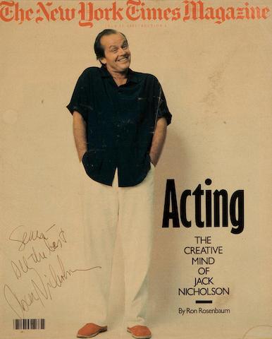 A Jack Nicholson signed New York Times Magazine, 1986