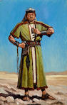 2 costumes studies of Egyptian Taskmaster with whip, signed