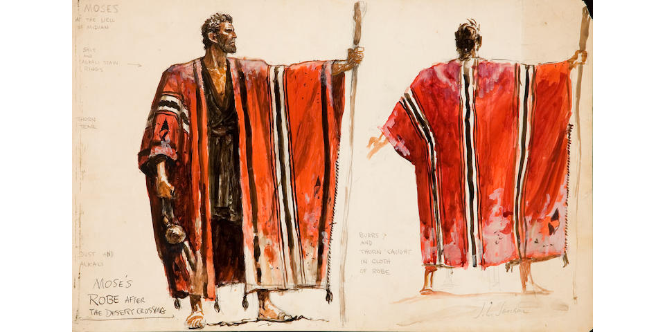 Original costume studies by John Jensen for The Ten Commandments