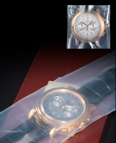 Patek Philippe. A very rare and fine 18K rose gold chronograph wristwatch with register and tachymeter Retailed by Tiffany & Co., Ref:5070R, Case no. 4274227, Movement no. 3362417, sold 2005
