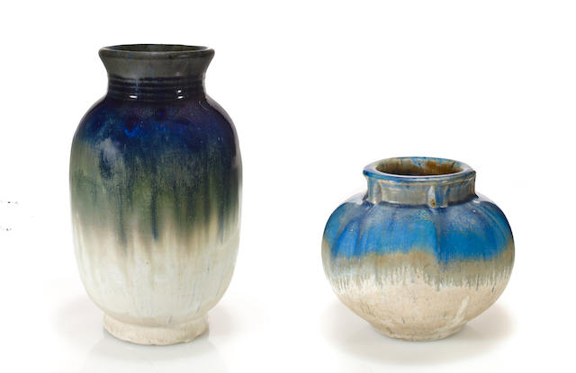 Two Fulper glazed earthenware vases  circa 1905