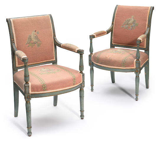 A pair of Louis XVI painted fauteuils fourth quarter 18th century