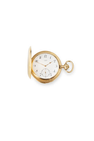 Swiss. A good 14K rose gold hunter cased quarter repeating watchNo. 36658, retailed by G. Goeser, Zurich, circa 1910