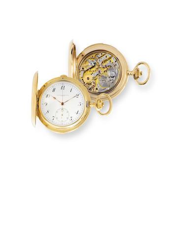Vacheron & Constantin. A fine 18K gold hunter cased minute repeating chronographMovement no. 349198, Case no. 222473, circa  1914