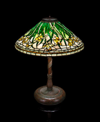 A Tiffany Studios leaded glass and bronze Daffodil table lamp 1899-1918
