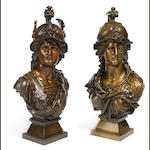 A pair of French patinated bronze busts of Mars and Minerva <br>late 19th/early 20th century