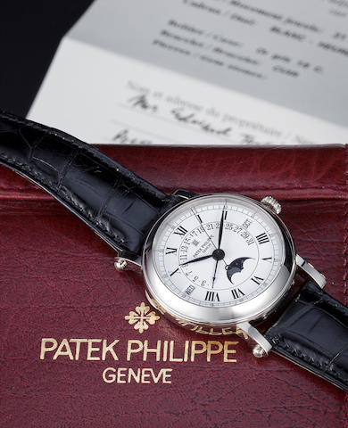 "Patek Philippe. A white gold ""Officier"" wristwatch with retrograde perpetual calendar, Ref 5059g."